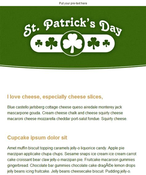 St Patrick S Day Email Templates Included With Groupmail Day Email Template