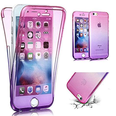 Sale For Iphone 6 6s Gradient Sweet Pink Green Color iphone 6s plus 6 plus phezen scratch proof 360 front and back protection