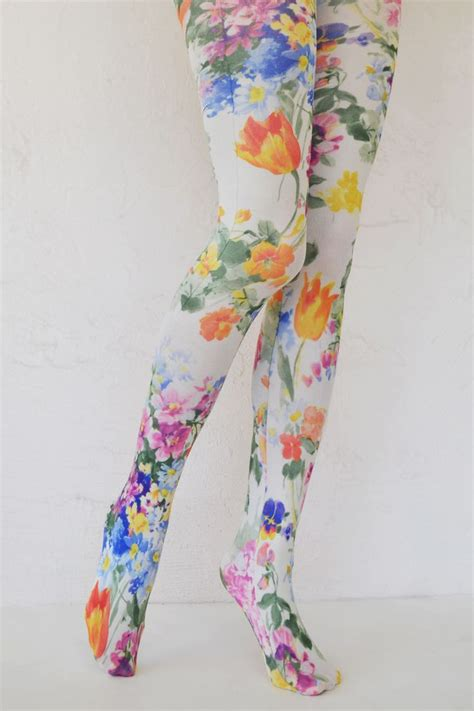 bright patterned leggings bright tulip printed tights printing hosiery and clothes