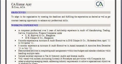 resume format for freshers articleship