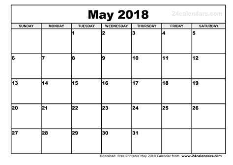 printable calendar schedule may 2018 calendar visual schedule template