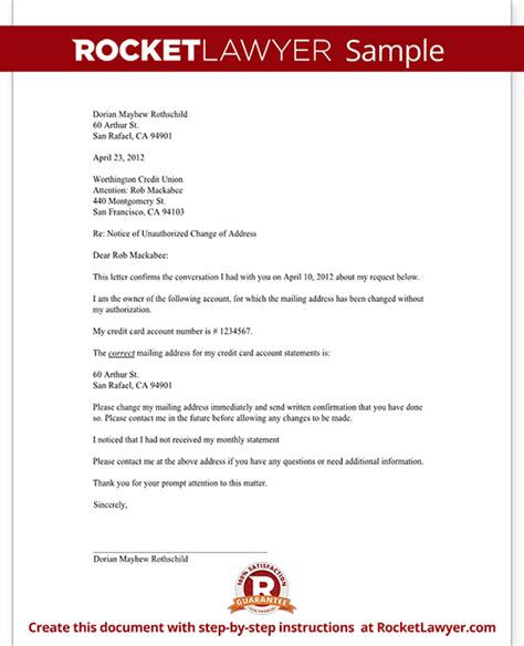 Notification Letter Of Credit Letter To Notify A Credit Card Company Of An Unauthorized Address Change Template With Sle