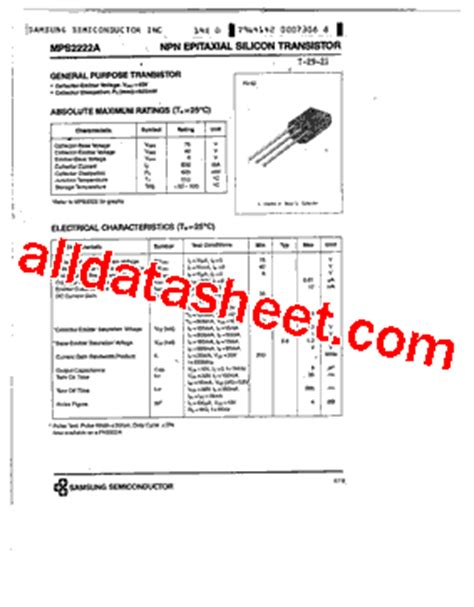 transistor lifier in pdf mps2222a datasheet pdf samsung semiconductor