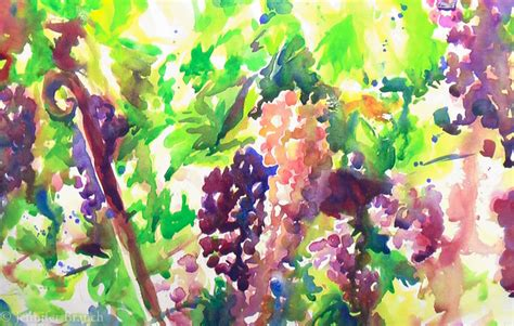 watercolor grapes tutorial painting grape vines in watercolor