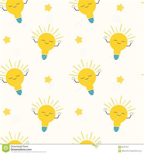 cute cartoon bright yellow light bulbs seamless pattern