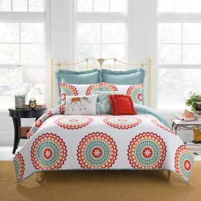 anthology bungalow comforter set anthology bungalow reversible quilt in coral white multi