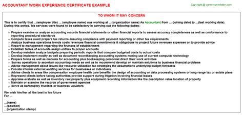 Experience Letter With Description Accountant Work Experience Certificate