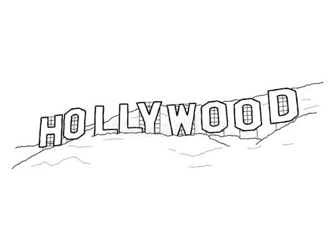 the gallery for gt hollywood cartoon hollywood sign stock vector illustration of california