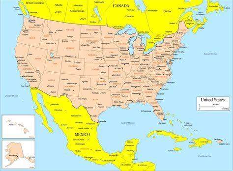 usa map with states and major cities usa map