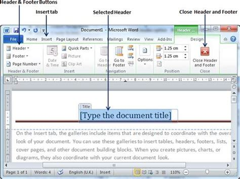 creating header and footer in word 2010 header and footer in word 2010
