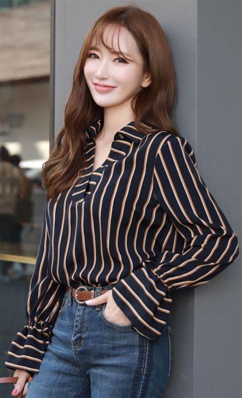 Pinstripe Sleeve Blouse pinstripe bell sleeve v neck blouse blouses