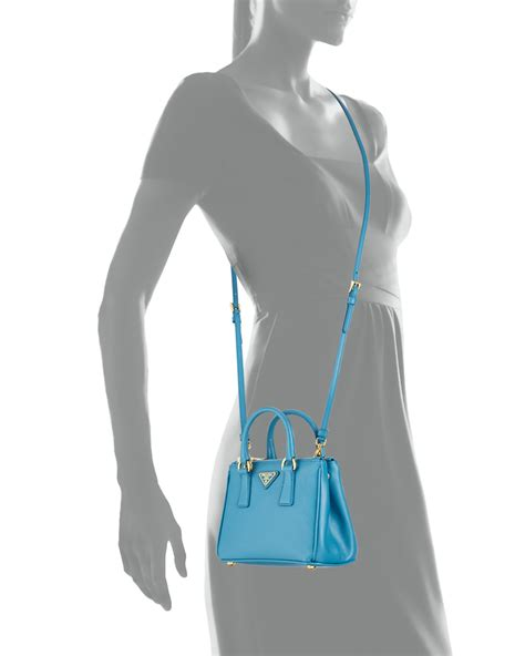 Prada Crossbody 312 lyst prada saffiano mini galleria crossbody bag in blue