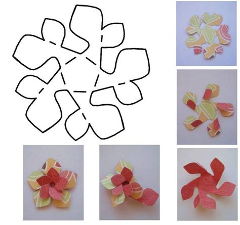 Flower Paper Craft Template - folded paper flower template folded paper flower template