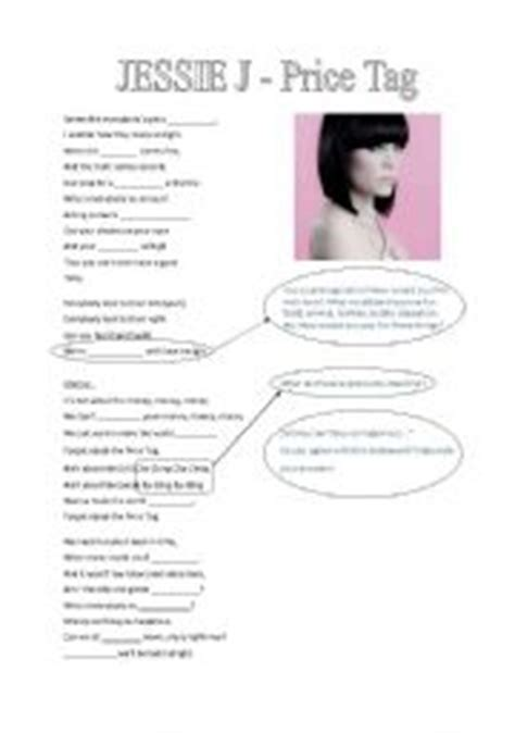 jessie j money lyrics musical dictation jessie j price tag worksheet