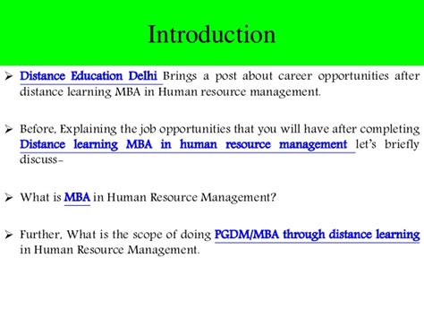 Distance Mba In It by Career Opportunities After Distance Learning Mba In Hrm