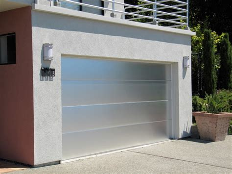 Aluminum Garage Doors Custom Brushed Aluminum Garage Door In Marin County Modern Garage And Shed San Francisco