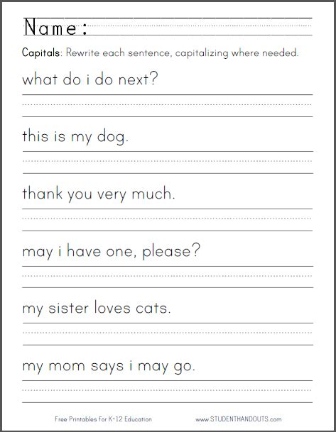 free printable handwriting worksheets with sentences kindergarten writing sentences worksheet quotes