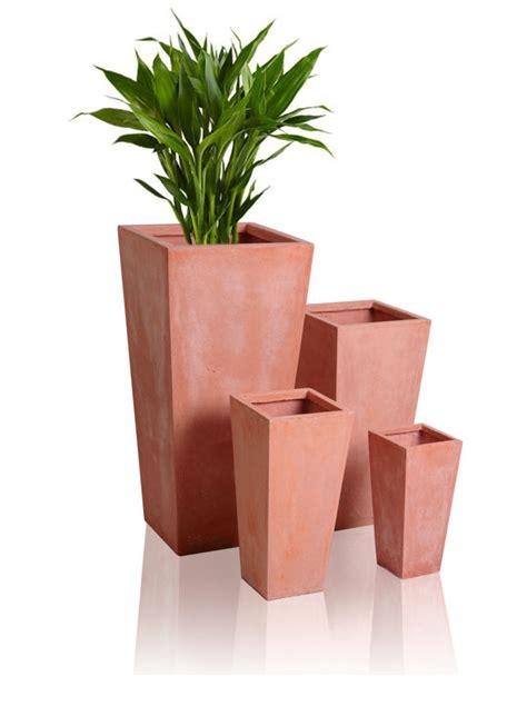 tall flower pots tall terracotta flared square planter plant flower pots