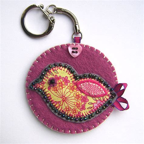 Handmade Fabric Keyrings - folksy buy quot bird fabric key ring quot craftjuice