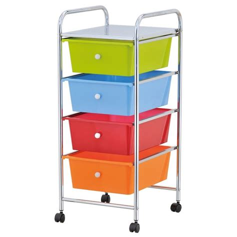 Drawer Cart With Wheels by Home Office Chrome 4 Drawer Storage Cart Trolley With