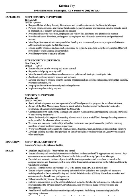 security supervisor resume security supervisor resume sles velvet