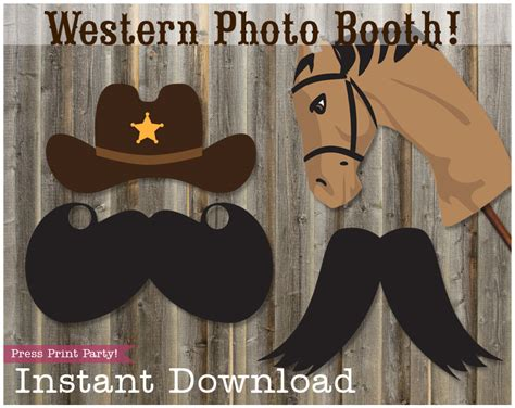 free printable photo booth props cowboy western party photo booth props press print party