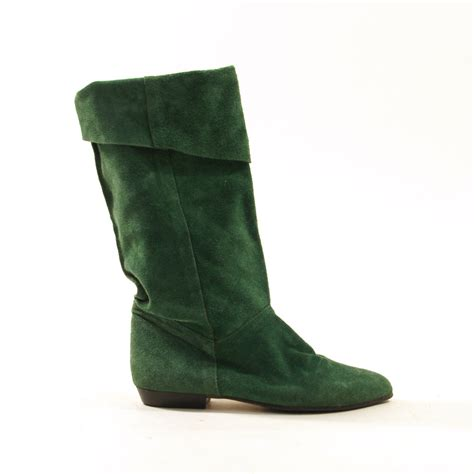 green boots 80s suede pirate boots slouchy green by