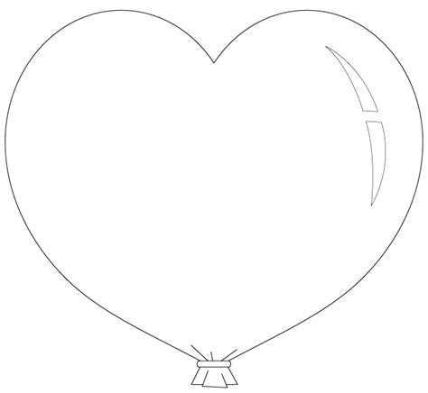 Heart Balloon Coloring Page | heart balloon coloring pages kleurplaten pinterest