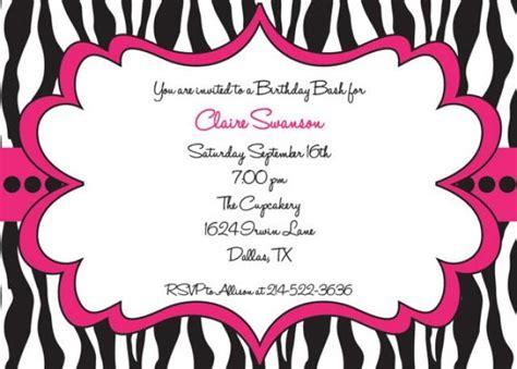 printable zebra invitations for birthdays hot pink and black zebra print girls birthday party