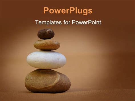 powerpoint template a number of zen stones with brownish