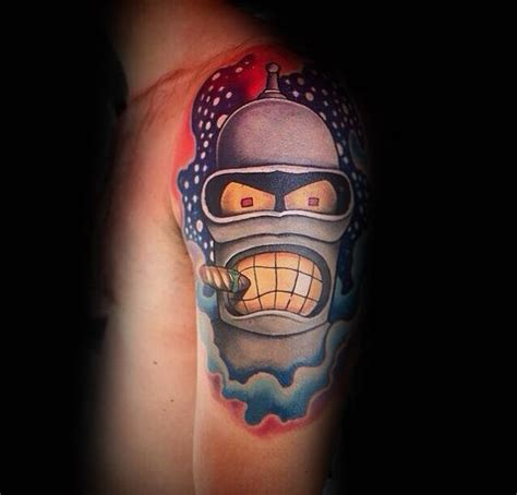 robot sleeve tattoo designs 40 bender designs for futurama robot ink ideas