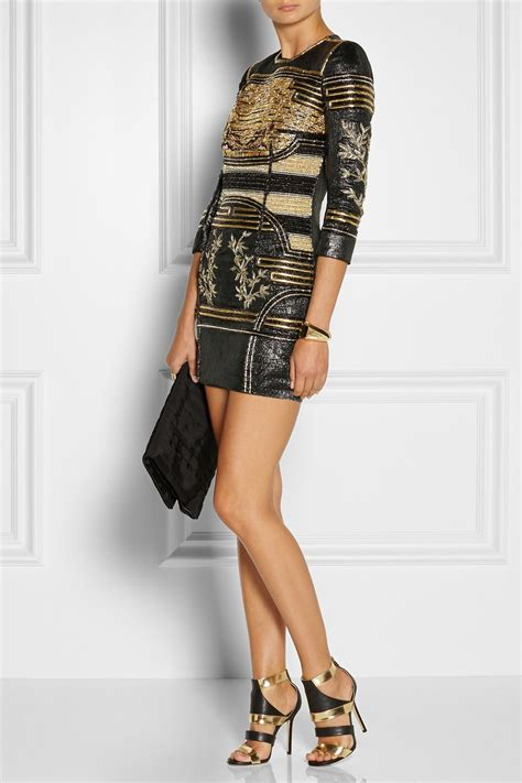 Versace Metallic Jacquard Snap Out Of It Bag by Balmain Embellished Metallic Jacquard Mini Dress In Black