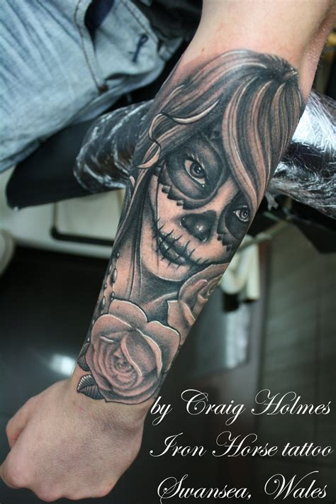 day of the dead tattoo sleeve day of the dead by craig by