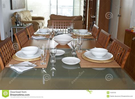 dining room with table setting stock image image of