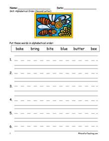 alphabetical order worksheet to the second letter have