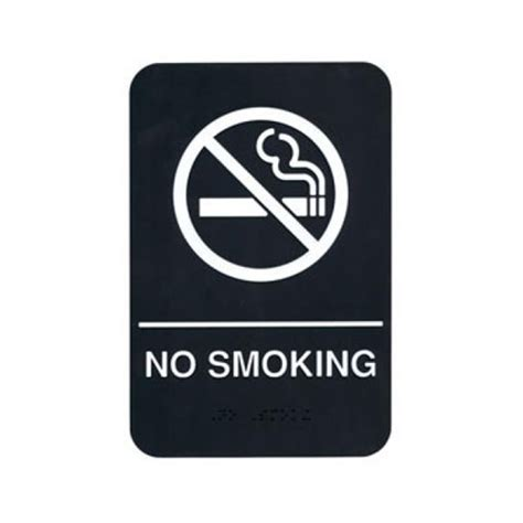 no smoking sign black white on black no smoking braille sign 6 in x 9 in