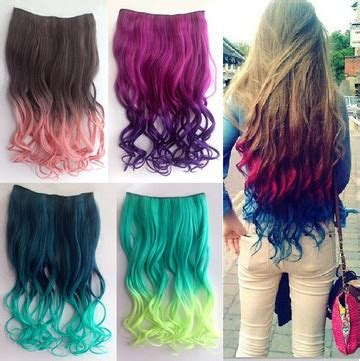 ombre kanekalon clip in hair 2014 fashion women colorful ombre curly outre fake