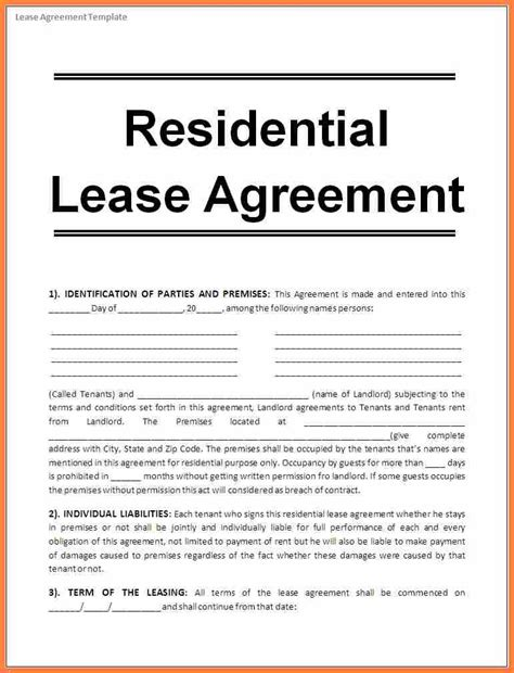 residential rental agreements residential rental