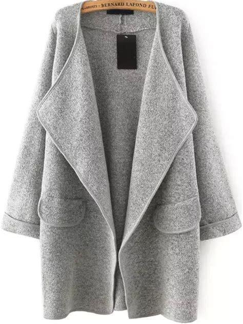 Jaket Grey Style Longsleeve grey lapel sleeve sweater coat shein sheinside