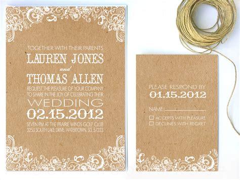 Wedding Invitations Kraft Paper by Wedding Invitation White Floral Kraft Paper