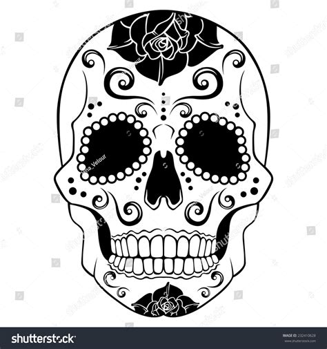 white sugar skull with floral ornament stock vector