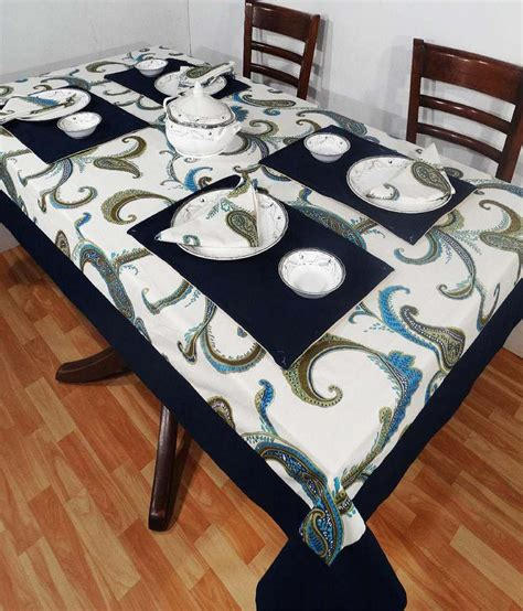 Blue Table L Heritagefabs Harmony Blue Table Cover With 6 Napkins 6 Table Mats Buy Heritagefabs Harmony