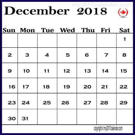 2018 December Calendar December 2018 Calendar Canada Printable Monthly Calendars