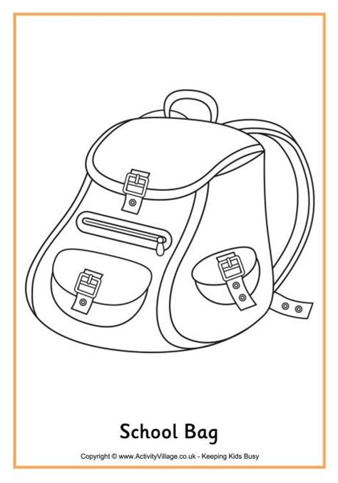 school bag colouring page september ideas pinterest