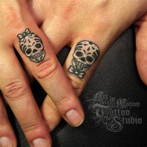 his and hers skull tattoos his and s sugar skulls in motion studio