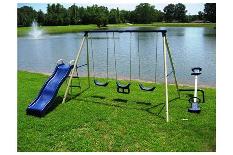 swing set teeter totter flexible flyer triple fun ii swing set with slide swings