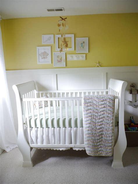 wainscoating  babys room  yellow nursery yellow