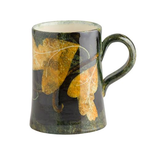 Handmade Mugs - handmade mug foliage painted at ralph jandrell pottery