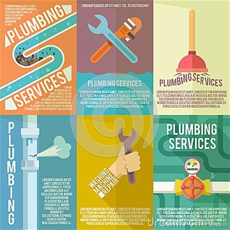plumbing icons composition poster stock vector image