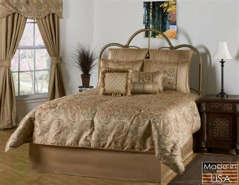 4pc opulent gold bronze oversized paisley design comforter